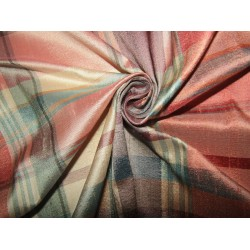 """100% silk dupion  fabric  pink and green PLAIDS  DUPNEWC5[1] 54"""" wide sold by the yard"""