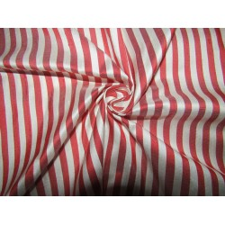 """100% silk dupion  fabric red white stripes DUPNEWS4[5] 54"""" wide sold by the yard"""