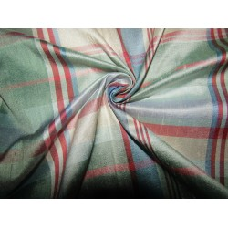 """100% silk dupion  fabric pastel multi color  plaids DUPNEWC7[1] 54"""" wide sold by the yard"""