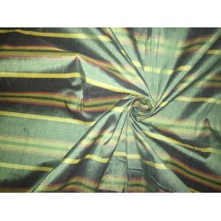 """100% silk dupion  green stripes  DUPNEWS3[2] 54"""" wide sold by the yard"""
