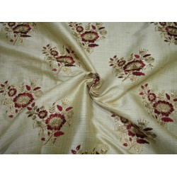 """3.60 yards POLYESTER  DUPIONI  FABRIC 44"""" GOLD with embroidered RED flowers and metallic gold leaves"""