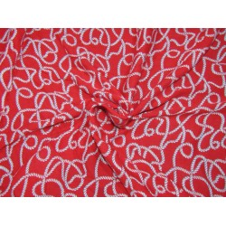 Rayon Printed fabric RED color 44'' wide BY THE YARD