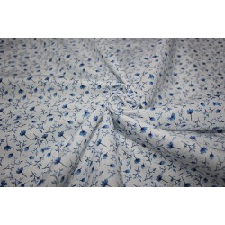 """100% linen fabric 58"""" beautiful IVORY with blue floral print"""