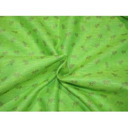 """Superb Quality Linen  fabric lime green gold print~58"""" by the yard"""