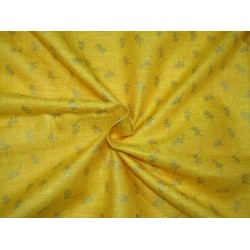 """Superb Quality Linen  fabric mango with gold print~58"""" by the yard"""