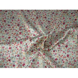 satin  print ivory with red and pink flowers 58'' wide by the yard [roll]