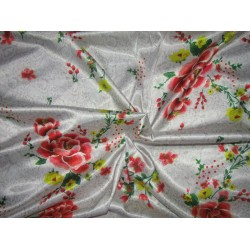 luxurious satin  print white floral 58'' wide by the yard [roll]  by the yard