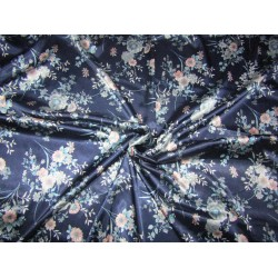 luxurious satin  print navy floral 58'' wide by the yard [roll]