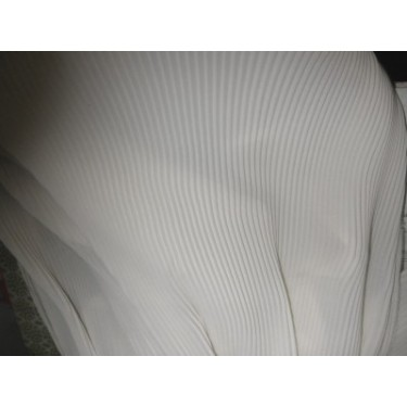 polyester georgette pleated fabric skin beige colour