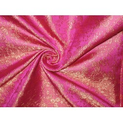 Silk brocade fabric Pink & Gold colour