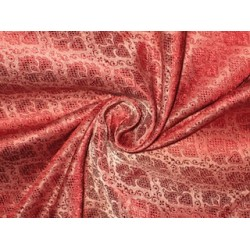 Silk Brocade Fabric Wine Red & Grey 44""