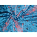 100% Pure Silk Brocade -turquoise Blue Colour floral