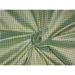 "SILK DUPIONI FABRIC 54"" GREEN X IVORY,YELLOW SMALL PLAIDS CUT LENGTH 1y"