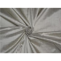 "SILK DUPIONI FABRIC 54"" ASH X CREAM SMALL PLAIDS"