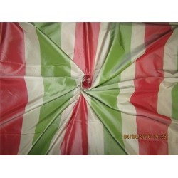 "100% Pure Silk Taffeta Fabric red,Green & Cream stripe TAFS139[4] 54"" wide sold by the yard"