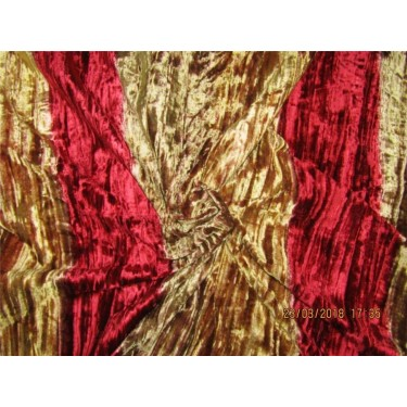 """100% crushed Velvet fabric 58"""" gold x red color"""