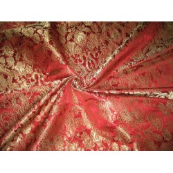 Heavy Silk Brocade Fabric Metallic Gold,Red color BRO78[1]
