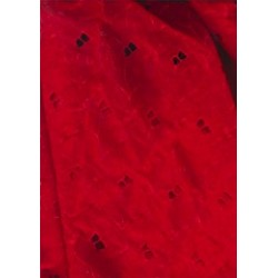 Red Swiss voile fabric with cut out work & embroidery 54""