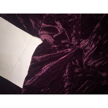 """100% crushed Velvet fabric 44"""" aubergine colour by the yard"""