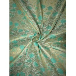 "BROCADE jacquard FABRIC mint green / green x metalic  gold COLOR 44"" wide BRO696[2]"
