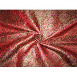 Brocade fabric red x metallic GOLD with multi color paisleys  44'' wide BRO699[1]