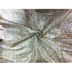 HEAVY Brocade fabric IVORY METALIC GOLD AND RED