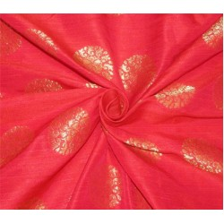 "Brocade fabric Red x metallic Gold Color 44""BRO597[3]"