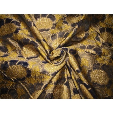 """Brocade fabric navy x metallic gold color 60"""" wide bro616[2] by the yard"""
