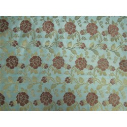 "Brocade fabric Pastel green x metallic Gold 44"" BRO599[3]"