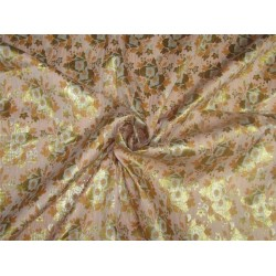 "Brocade fabric peach & peachy x metallic Gold 44"" BRO599[5]"