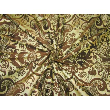 """100% Dupion fabric gold x brown color silk print 54"""" dupPR39[2]"""