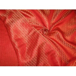 """Reversible Brocade fabric Red X gold color 44"""" BRO603[5]"""