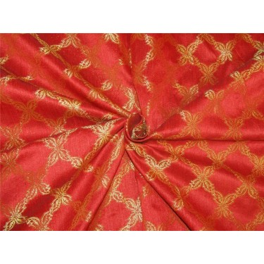 """Brocade fabric red x metallic Gold Color BRO596[1] 44"""" wide sold by the yard"""