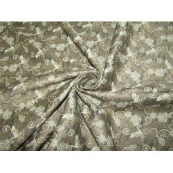 "100% COTTON SATIN 58""Taupe floral print USING DISCHARGE PRINTING METHOD"