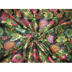 "Brocade fabric black ,pink ,green and metallic gold color 44""wide bro608[1]"