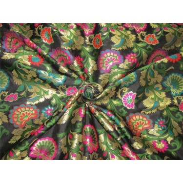 """Brocade fabric black ,pink ,green and metallic gold color 44""""wide bro608[1]"""