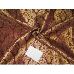 "Brocade fabric burgundy x metallic gold color 44""wide bro610[2]"