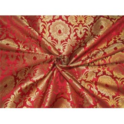 "Brocade fabric Red x metallic gold color 44""wide bro610[3]"