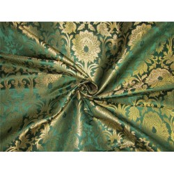 "Brocade fabric emerald green x metallic gold color 44""wide bro610[4]"