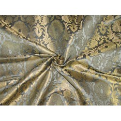 "Brocade fabric Blueish grey x metallic gold color 44""wide bro611[1]"