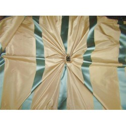 "Silk Taffeta Fabric champagne x blue satin stripes TAFS151 54"" wide sold by the yard"