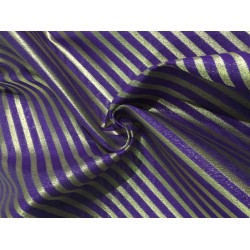 "Silk Brocade fabric   PURPLE AND GOLD stripe  BRO733[1]   44 "" wide  by the yard"
