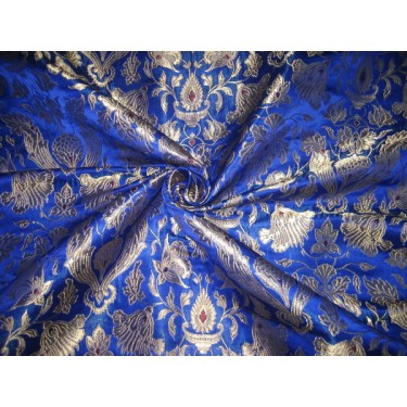 vintage mughal brocade jacquard fabric-royal blue BRO115[2] by the yard