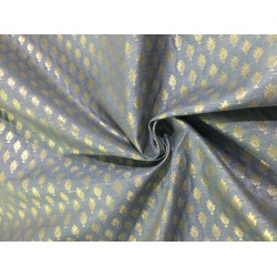 "Silk Brocade fabric   blueish grey x metallic gold  BRO733[2]   44 "" wide  by the yard"
