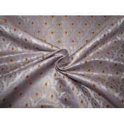 "Silk Brocade fabric  LIGHT PURPLE  ,red and  metallic  gold   BRO732[4]   44 "" wide  by the yard"