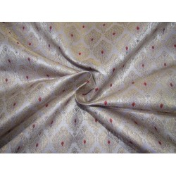 """Silk Brocade fabric periwinkle ,red and  metallic  gold   BRO732[2]   44 """" wide  by the yard"""