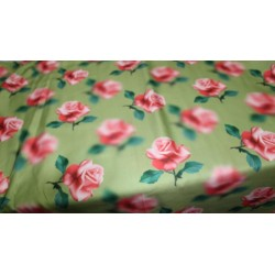 Linen satin digital print fabric olive green & pink roses 44'' wide by the yard