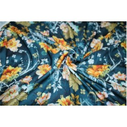 Linen satin digital print fabric teal green gold & yellow flower 44'' wide by the yard