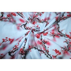 Linen satin print fabric ice blue and red flower 44'' wide by the yard