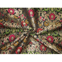 """Silk Brocade 36"""" king khab [kings dream] black red pink yellow and green floral  x metalic gold BRO720[4] by the yard"""